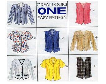 McCalls 8222, Women Blouse, Top, Shirt, Sewing Pattern, Button Front, Princess Seam, Long Sleeve, Short Sleeve, Size 8-10-12-14, UNCUT