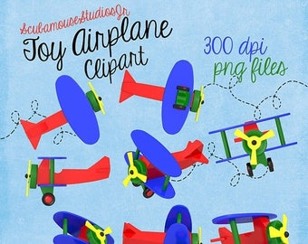 80% OFF SALE Airplane Clipart, toy airplane, digital clipart, scrapbooking, primary colors, digital supply, commercial use, 300 dpi wooden p
