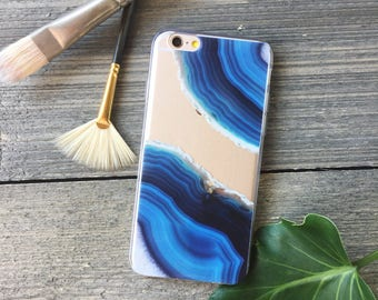 Blue Geode iPhone Case, Your choice of Soft Plastic (TPU) or Wood
