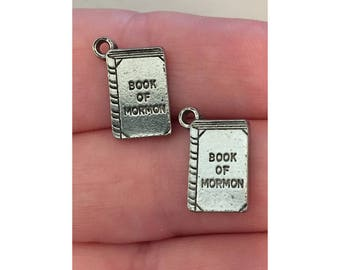 Book of Mormon CHARM (2) LDS charm antique pewter - 2 charms per pack