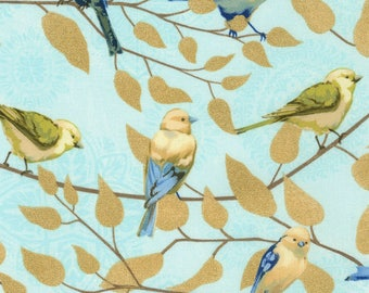 1/2 Yard Timeless Treasure Fly Away Birds on Branches Aqua C5621 designed by Janelle Penner