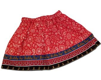 Girl's Red Bandana Western Cowgirl Skirt