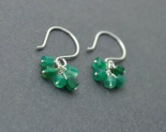 Handmade Dangle Earrings, Sterling Silver Earrings, Green Onyx, Cluster Earrings