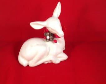 Vintage White Ceramic Christmas Deer Figurine