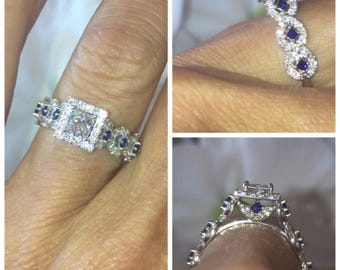 Princess Cut Engagement Rings .70ct Forever One Moissanite Center & Princess cut Sapphires 14k white gold Vintage Style Pristine Custom Ring