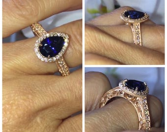Sapphire & Genuine Diamond Halo  Engagement Ring 18kt Rose Gold Pear Shape Sapphire Center Round Diamond 3.70ctw Wedding Ring Crowned Love