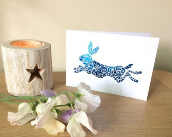 Leaping hare card (foil print) greetings card,  any occasion, blank greetings card, hare birthday card