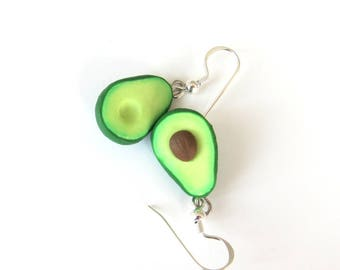 Miniature Food Jewelry, Avocado Earrings, Avocado Jewelry, Friendship Jewelry, BFF Gifts, Green Earrings, Polymer Clay Avocado Food Earrings
