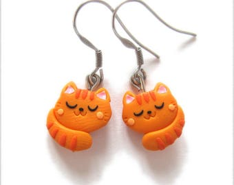Orange Cat Earrings, Ginger Cat Earrings, Cat Jewelry, Cat Gifts, Orange Earrings, Polymer Clay earrings, Cute Earrings, Girls Earrings Fimo