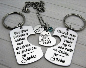 Father Daughter Mother Gift Set - Personalized Hand Stamped Daddy Daughter Mother Keychain necklace set - hand made gift set