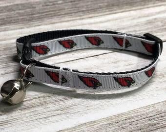 Adjustable Nylon Webbing Ribbon CAT Collar- Hand Made - Arizona NFL Cardinals