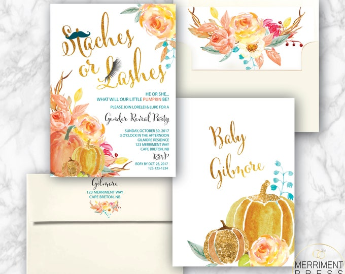 Fall Gender Reveal Invitation // Staches or Lashes Invite // Pumpkin Gender Reveal Party // Gold // Watercolor // CAPE BRETON COLLECTION