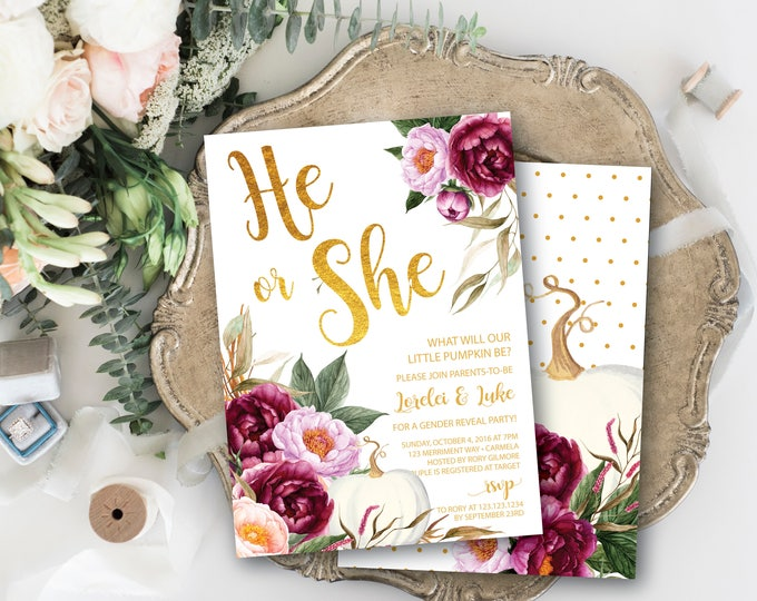 Fall Gender Reveal Invitation / Pumpkin Gender Reveal / He or She invitation / Burgundy / Wine / Little Pumpkin /Gold // CARMEL COLLECTION