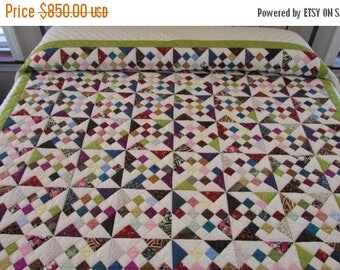 ON SALE: Patchwork Quilt, Diamond Patchwork Quilt, Hand Made Quilt, King Size Quilt, Jewel Tone Quilt, Country Quilt, Quilted Bedspread