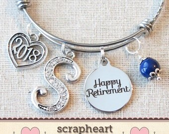 RETIREMENT Gift Bangle Bracelet, Congratulations Gift, Personalized 2018 Retirement Bracelet, Happy Retirement Gift for Her - Teacher Nurse