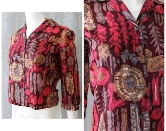 Vintage 50s Batik Print Silk Blouse Top Gordon Baron Sportswear S