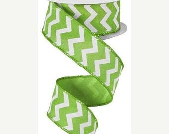 """SALE 1.5"""" x 10yd chevron ribbon, lime green chevron ribbon, wired chevron ribbon, lime green ribbon, chevron wired ribbon, chevron ribbon, r"""