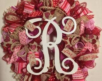 SALE Valentine's Day wreath, burlap wreath, monogrammed door wreath, valentines decor, valentine wreath, mesh Valentine's Day wreath, wreath