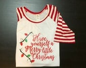 Youth Small-5/6 Merry Little Christmas shirt and 3 RTIC tumblers
