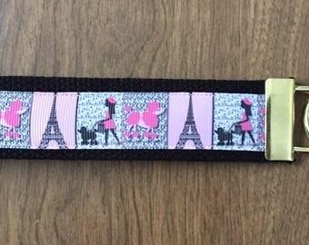 Poodle In Paris Key Chain Wristlet Zipper Pull