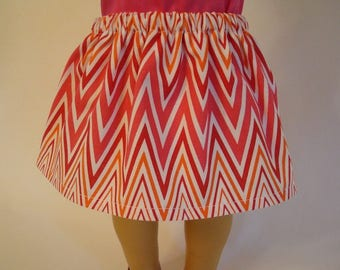 Pink Chevron Skirt for American Girl Doll and 18-inch Dolls - Doll Pink and Red Chevron Skirt
