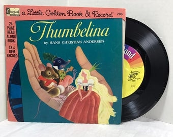 Thumbelina Story And Song vinyl record & book 1976 EX Disneyland Records Kids Children Storybook Little Golden Book Hans Christian Anderson