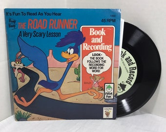 The Road Runner: A Very Scary Lesson Book and Record 1981 Peter Pan Records Looney Tunes Wile E Coyote Children Kids Storybook VG/VG+