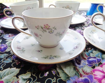 Franconia Fleurettes Fine Dinnerware 5 Cup And Saucer Sets Adorned With Colorful Small Flowers Free Shipping
