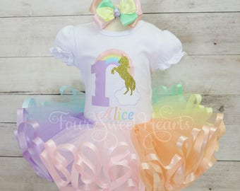 Birthday Unicorn Outfit, Pastel Rainbow Outfit, Unicorn Birthday Outfit, Unicorn Outfit, Rainbow Dress, Rainbow Tutu, Unicorn Dress