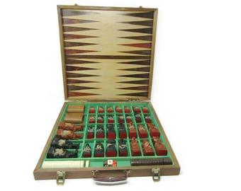 Vintage WWII Asian Chess Backgammon Set / Japanese Chessmen / Rare Chess Set Terracotta Army Chess Set