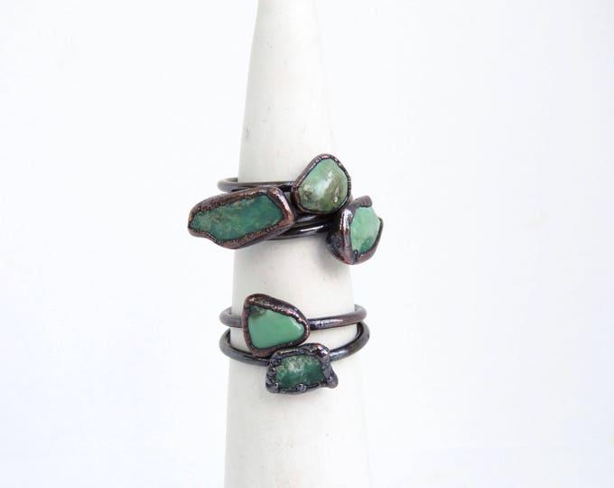 Variscite Ring - Green Stone Ring - Electroformed Ring - Electroformed Jewelry - Raw Stone Ring - Copper Ring