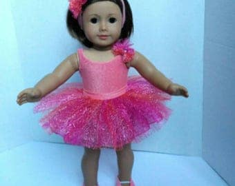 Sparkly pink ballet outfit for 18 doll ballet, made to fit like American Girl doll clothes,  fits American Girl ballerina outfit