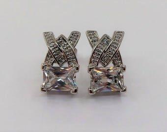 FADI Signed Stone Set Stud Earrings.