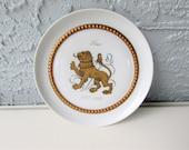 Vintage Tettau Atelier German Porcelain Zodiac Plates - Leo - White - Gold Metallic - Hanging Plates - Lowe - Lion - Leo Zodiac Sign -