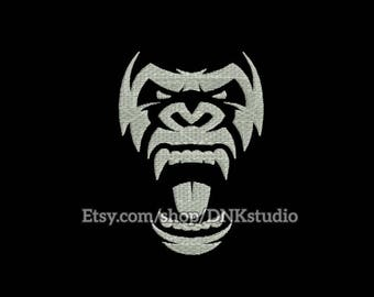 Gorilla Head Face Embroidery Design - 6 Sizes - INSTANT DOWNLOAD