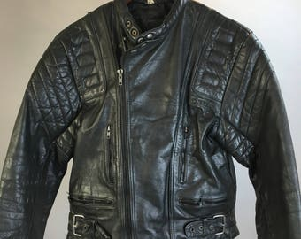 Vintage leather motorcycle jacket// quilted leather motorcycle jacket// 80s motorcycle cafe racer jacket