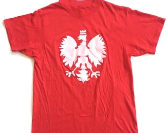 Vintage polish poland polska coat of arms eagle 50 50 combed cotton paper thin soft 70s 80s hanes t shirt deadstock red