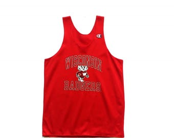 90s CHAMPION retro Wisconsin Badgers NCAA basketball jersey tank top size small unisex adult perforated top