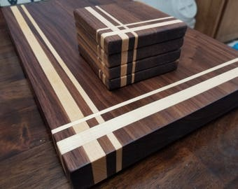 Dark Walnut with Maple Inlay cutting board