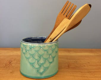 Handmade Utensil Holder. Slip trail Deco. Glazed in Aqua and Blue. MA53