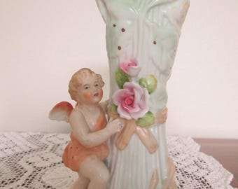 Vintage Cottage Chic Porcelain Cherub Botanical Bud Vase/Putti/Cupid  #17183