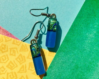 Fused Glass Earrings  in Blue and Dichro Bluegreen