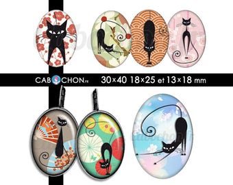Chat Noir Japon • 45 Images Digitales OVALES 30x40 18x25 13x18 mm japan fleur eventail sakura washi cat cats chats origami geisha black