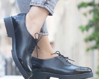 Black Leather Shoes, Leather Oxfords, Leather Brouges , Winter Shoes, Flat Shoes, Flats, Free Shipping