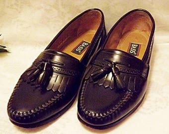 Bass Shoes Vintage Mens Black LeatherTassel Loafer Size 10 D