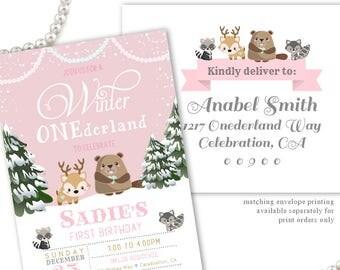 First birthday onederland invitation, Winter Onederland Invitations, Winter Birthday Party Invites for a Girl, Winter 1st Birthday Invite