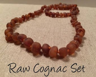 "Raw Cognac SET Baltic Amber Necklace for Baby, Infant 11 Inch necklace and 5.5"" bracelet"