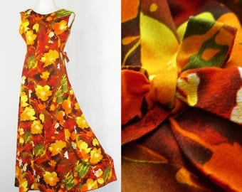 Vintage 60's Hawaiian Barkcloth Floral Bold Art Sleeveless Long Full Dress S/M