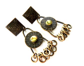 Vintage Marjorie Baer Brass and Glass Large Earrings