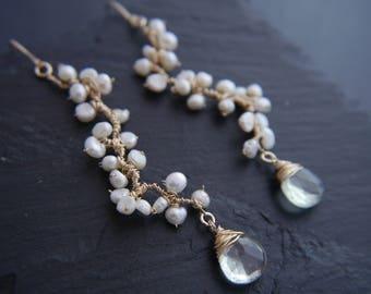 Freshwater Pearl Earrings, Green Amethyst, Bohemian, Vine Earrings, Gold Filled, Wedding Earrings, Flower Earrings, Blossoming Vine, Anthro